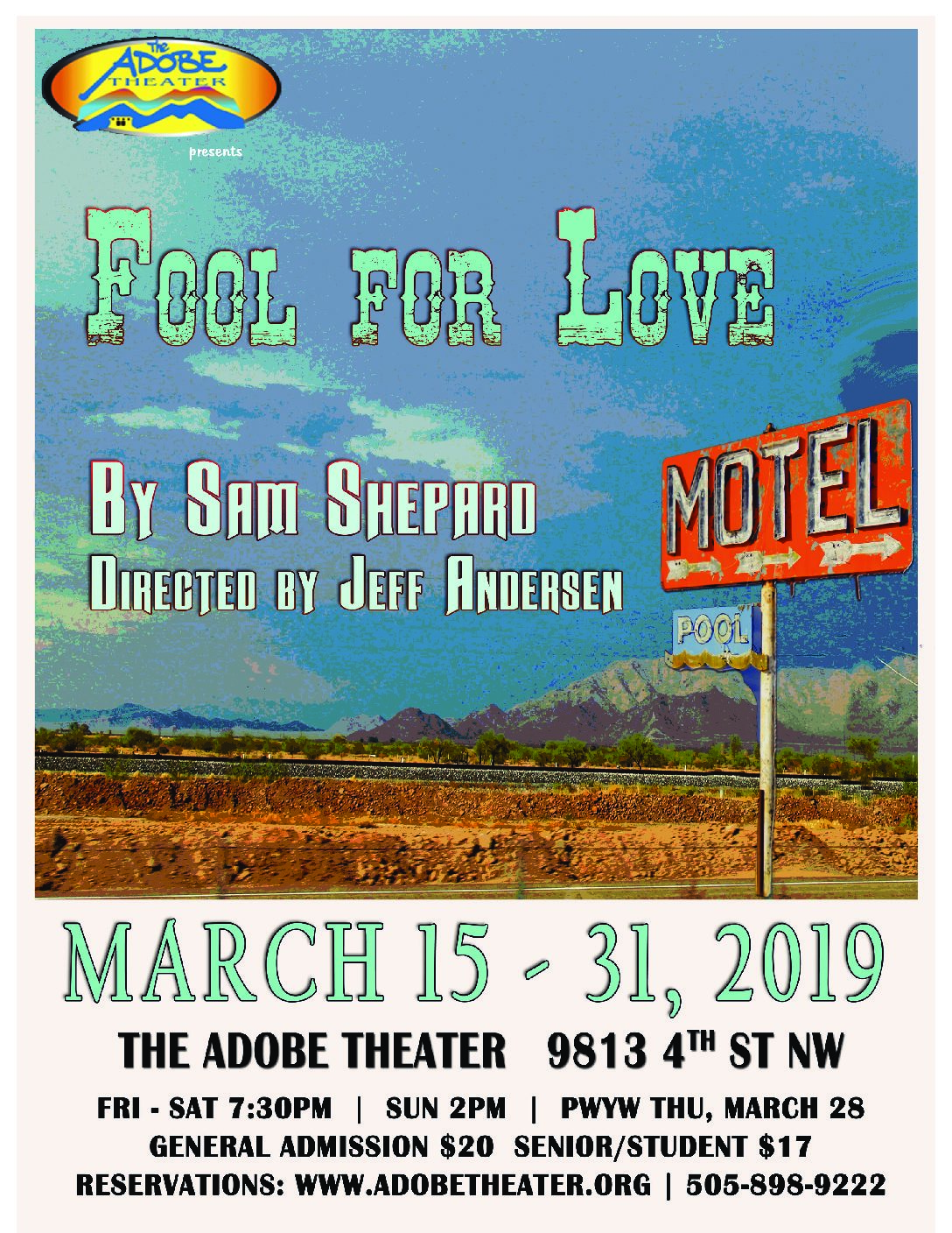 """ADOBE THEATER: SAM SHEPARD'S """"FOOL FOR LOVE"""" OPENS MARCH 15"""